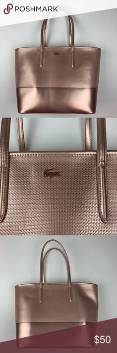 9cfe6e2c0 Lacoste Rose Gold Pink Cabas Zip Closure Tote Bag Good preowned condition.  Inside is clean
