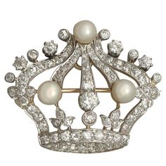 Pearl and 2.63 Carat Diamond, 14k Yellow Gold 'Crown' Brooch  | From a unique…