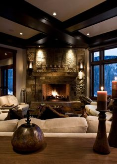 Cozy living room:) (i.it) submitted by praisec to /r/CozyPlaces 0 comments original - Architecture and Home Decor - Buildings - Bedrooms - Bathrooms - Kitchen And Living Room Interior Design Decorating Ideas - Home Living Room, Living Spaces, Living Area, Rustic Living Rooms, Fireplace Design, Fireplace Ideas, Cozy Fireplace, Fireplace Stone, Fireplace Windows
