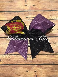 Disney Descendants Inspired Mal bow by UndercoverGlitz on Etsy Frozen Birthday Theme, 10th Birthday Parties, Disney Decendants, Making Hair Bows, Cheer Bows, Big Bows, Rainbow Loom, Minnie, How To Make Bows
