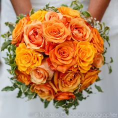 wedding bouquet orange roses