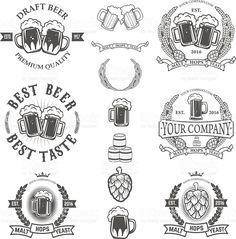 Set of labels templates with beer mug isolated on white Сток Вектор Стоковая фотография