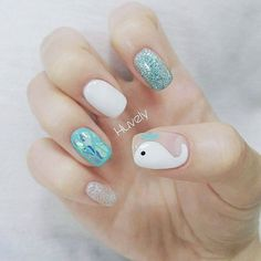 The advantage of the gel is that it allows you to enjoy your French manicure for a long time. There are four different ways to make a French manicure on gel nails. Beach Nail Designs, Pedicure Designs, Nail Art Designs, Beach Nail Art, Sea Nails, Summer Gel Nails, Summer Nails 2018, Nails For Kids, Nagel Gel