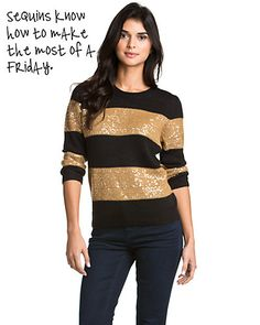 """this: Isaac Mizrahi """"Elise"""" Black & Gold Sequin Sweater Football Fashion, Sequin Sweater, Tiger Stripes, Black Gold, Must Haves, Swatch, Product Launch, Sequins, My Style"""