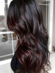 Red Highlights In Brown Hair, Brown Ombre Hair, Ombre Hair Color, Light Brown Hair, Hair Color Balayage, Dark Hair, Dark Brown, Balayage Highlights, Burgundy Hair