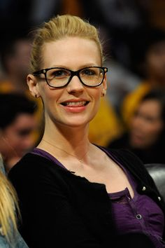 Frames for Oval Faces: January Jones' frames are a take on the wayfarer style and work for every face shape. -