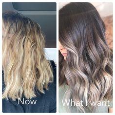 Reverse Balayage, Balayage Hair Ash, Balayage Brunette, Balayage Color, Brown Balayage, Cool Blonde Hair, Brown Hair With Blonde Ends, Cut Her Hair, Hair Cuts