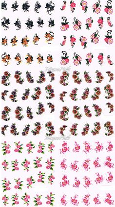 Nail Art One Stroke Sticker - Profi Nageldesign Shop - Nail Art - Naildesign One Stroke, Nail Decals, Nail Stickers, Cassi, Beauty Nails, Ronaldo, Finger, Nail Designs, Clip Art