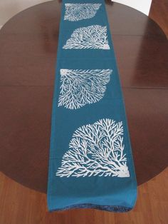 Koʻa (coral) Table Runner (6ʻlong) in teal with white blockprints by Palapala Designs