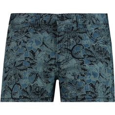 Tory Burch Mia printed denim shorts (115 BRL) ❤ liked on Polyvore featuring shorts, blue, colorful jean shorts, blue jean short shorts, low rise denim shorts, colorful shorts and blue denim shorts
