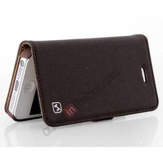 Original HOCO Happy Series Real Genuine Luxury Leather Flip Case for iPhone 5 - Brown US$22.99