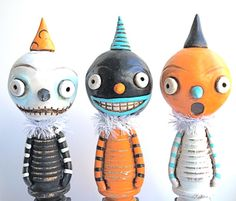 BOO Halloween Trio made from Polymer Clay as seen in Holiday's and Celebrations Magazine Published Halloween Folk Art