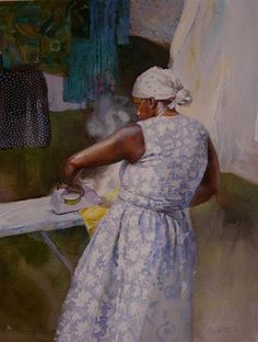 Spring Ironing by Mary Whyte, watercolor painting
