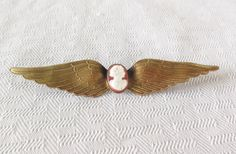 1940s Vintage Large Winged Cameo Brooch WWII by MyVintageHatShop