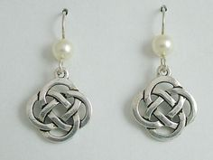 """Pewter & Sterling Silver large Round Celtic Knot dangle Earrings-glass """"pearl"""""""