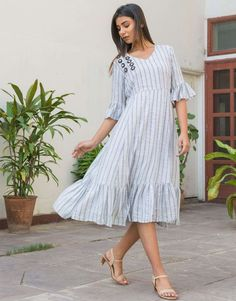 Light Blue Cotton Stripe Dress from the house of Siddhi Creations. Cotton Dresses, Blue Dresses, Short Sleeve Dresses, Ikat Dresses, Maxi Dresses, Saree Dress, Jumpsuit Dress, Pink Midi Dress, Striped Dress