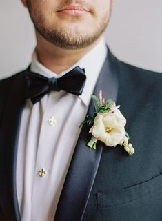 Classic White Boutonniere with Black Bow Tie White Gazebo, Yellow Wedding Invitations, Groom And Groomsmen Style, White Boutonniere, Yellow Bridesmaid Dresses, Yellow Bouquets, Lace Runner, Elegant Couple, Rose Centerpieces