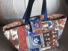Rustic Block print quilted tote bag book bag by JDCreativeHands, $25.00