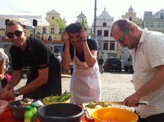 Carlos Carmonamedina - FOODING PLZEN2015. Our mexican artist in residence was organising a community project focused on foodart and cooked with our director on Festival Polevky on the main square #plzen2015 #plzen #zivaulice #festivalpolevky #artistinresidence #foodart #food #soup #cooking