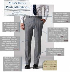 Like shirts, men's dress pants (a. slacks or trousers) need to be altered for fit. It is especially important for short men to get their pants hemmed and adjusted by a competent, experienced tailor. Mens Slacks, Mens Suits, Grey Slacks, Mens Style Guide, Men Style Tips, Mens Dress Pants, Men Dress, Dress Shirts, La Mode Masculine