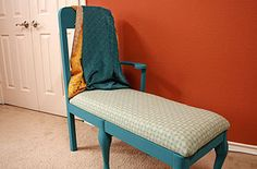 Turn a Dining Chair into a Chaise Lounge..instead of using extra chair legs purchased,,,you may consider another chair in the set...
