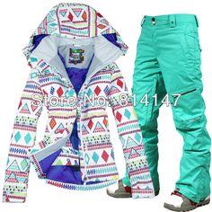 free shipping 2014 women's ski suit snowboarding set ladies snow ensemble ski wear white jacket and pants ski suit in women  $210.00