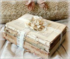 Rustic Book Bundles, Farmhouse Decor, Shabby Chic, Naked Book Bundles, Old Book Decor Shabby Chic Crafts, Vintage Crafts, Shabby Chic Decor, Old Books, Antique Books, Old Book Crafts, Rustic Books, Handmade Books, Handmade Notebook