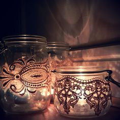 Art Nouveau Wedding Decor: Glass Storage Jars Wrapped with Vintage Lace Used as Candle Holders,   Perfect as part of a candle centrepiece for a vintage wedding or for shabby chic home decor.