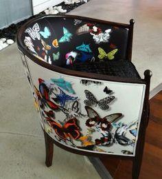 fauteuil tonneau tissu nutterfly parade christian lacroix vendu par la rime des matieres