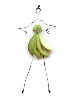 Avocado dress fashion illustrations by Gretchen of RAC