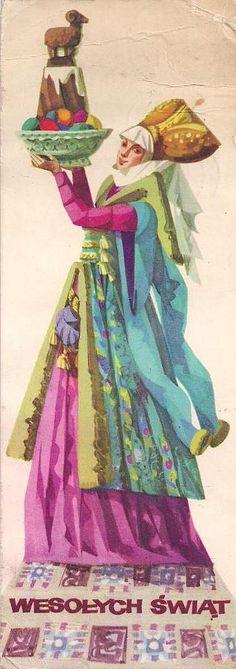 Maria Orłowska-Gabryś (1925-1988) — Wesołych Swiąt   (335x950) Art Costume, Folk Costume, Polish Easter, Polish Folk Art, Sketch Inspiration, Vintage Easter, Geraniums, Vintage Postcards, Arts And Crafts