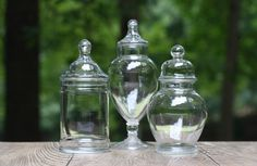 Set of Three Clear Glass Apothecary Jars with Lids / Candy Jars, Bathroom…