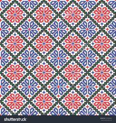 Embroidered handmade cross-stitch ethnic Ukraine pattern