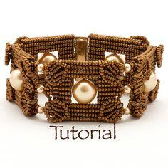 Seed Bead-Woven Bracelet Tutorial Pearls Squared por JewelryTales