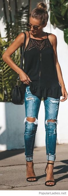 Nice black top with lace and blue jeans