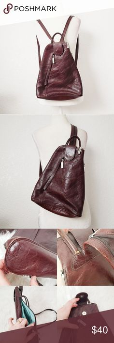 5eeb8bd6539 Clarks Vintage Brown Leather Backpack Purse This backpack purse is in good  vintage condition. Light