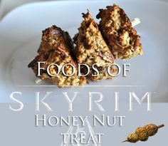 Protein and fiber for the adventurer on the go. From The Elder Scrolls V: Skyrim game. You can't make these in the game so there's no recipe to follow, I just put together a simple one with honey and nuts! 1 cup Oats (I used quick oats) 1/2 cup Nut Butter (peanut, almond, etc.) 1/2 cut roughly chopped nuts (almonds, pecans, walnuts, etc.) 1/2 cup Honey 1 tsp Extract from Vanilla Plant 2 Chicken's Eggs 1/2 cup from Sack of Flour disposable chop sticks, skewers, or candy apple...
