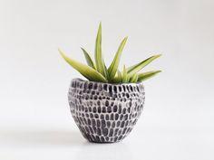 Black Ceramic Planter - Pottery Plant Pot - Carved Pottery