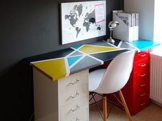 able basse Lack + deux caissons à tiroirs Helmer sur roulettes = un bureau avec rangement