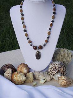 Turitella Fossil Pendant Silver Jasper Onyx by BlackBearsBazaar, $73.00