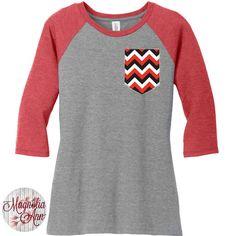 Georgia Red, Black & White Chevron Faux Pocket, Baseball Raglan 2 Tone 3/4 Sleeve Womens Tops Shirts in Sizes Small-4X, Plus Size by MagnoliaAnn on Etsy