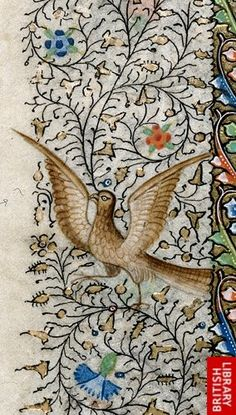 Detail of a miniature of an eagle, from the left-hand border of the suffrage of Thomas Becket.   Origin:France, N. or N. W. (Rouen?)  British Library Collection