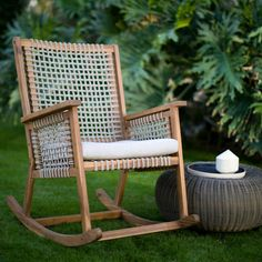 Every backyard or outdoor space needs a chair like the Belham Living Raeburn Rope and Wood Outdoor Rocking Chair . With premium construction, fine. Modern Outdoor Rocking Chairs, Patio Rocking Chairs, Outdoor Chairs, Outdoor Decor, Rattan Rocking Chair, Bar Chairs, Porch Chairs, Rustic Outdoor, Room Chairs