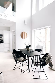 Pale wood flooring, dark dining table and chairs, high ceilings and glass Dining Room Inspiration, Interior Inspiration, Interior Ideas, Home Interior, Interior Decorating, Interior Modern, Monochrome Interior, Ideas Hogar, Dining Table Chairs