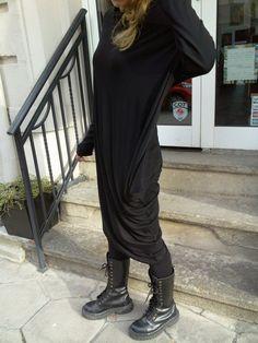 Black Extravagant Asymmetrical Tunic Dress / Plus size by shopMyJ, $79.00