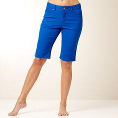 Women's Colored Denim Modest Bermuda Shorts, Navy   cute outfits ...