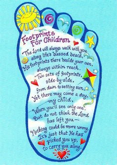 Love this!!! I think I'll frame it and put it up in the kid's bathroom.  I remember reading Footprints every time I sat down in my grandma's bathroom :)