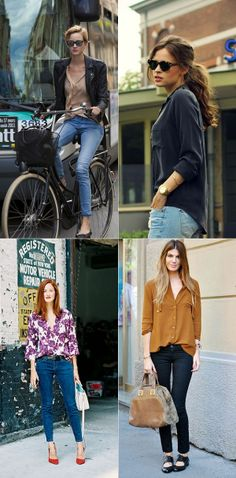 French style spring uniform aka  a silk button down blouse and a pair of your favourite jeans.