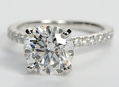 absolute perfection...petite pave setting with 2.51 carat round diamond...Blue Nile