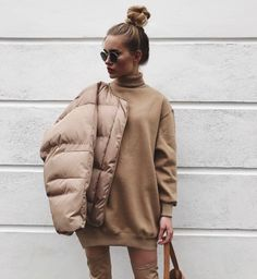 How to pull of a neutral look and a puffer jacket x